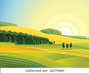 Rural morning landscape with field.