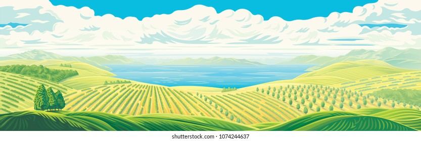 Rural panoramic landscape with a beautiful view of distant fields, gardens and plantations with a large water lake or sea. Vector illustration.