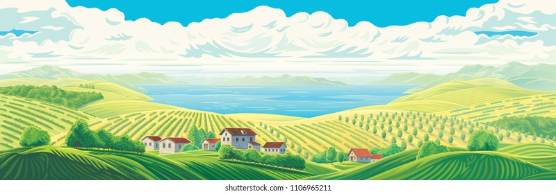 Rural panoramic landscape with a beautiful view of distant fields, wight village, gardens and plantations with a large water lake or sea.