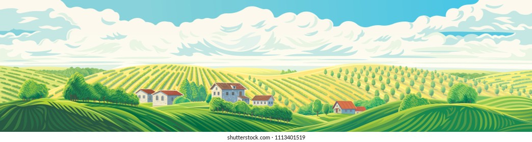 Rural panoramic landscape with a village and hills with gardens and fruit trees