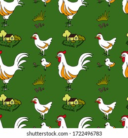 Rural pattern with the image of hens, chickens, roosters and on a beige background. Organic products