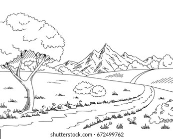 Rural road graphic black white landscape sketch illustration vector