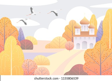 Rural scene with church, clouds, yellow trees and flying storks.  Nature background with colorful autumn landscape. Vector flat style illustration.