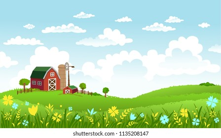 Rural scene with the farm and fields on sunny day.