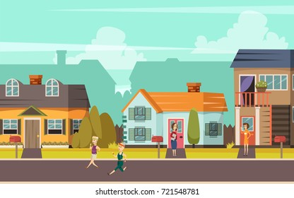 Rural street orthogonal background with cottages playing children and communicating neighbors flat vector illustration