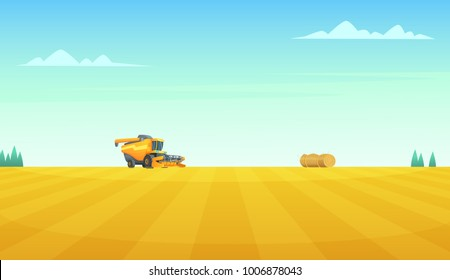 Rural summer landscape with Combine harvester agriculture machine harvesting golden ripe wheat field