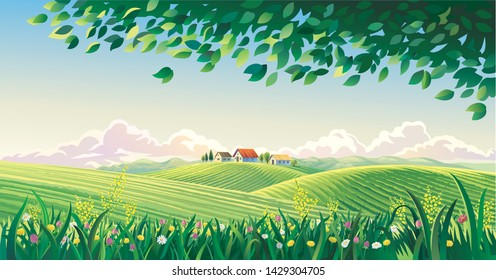 Rural summer landscape with flowers and grass in the foreground.