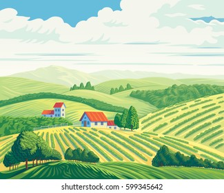 Rural summer landscape with hills and village.