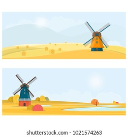 Rural summer landscape with a old windmill. Vector illustration