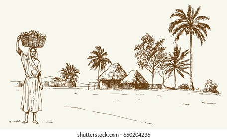 Rural tropical landscape. Bamboo hut, palm forest, woman with basket.