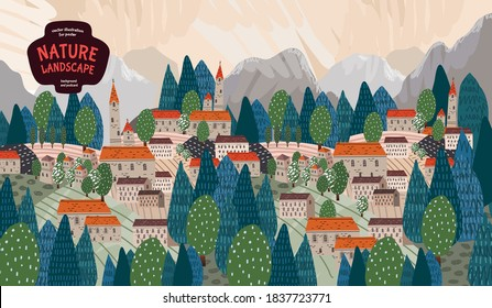 rural urban landscape. Vector illustration of houses, nature, trees, buildings, cities, mountains and villages. Drawings for poster, banner or background.