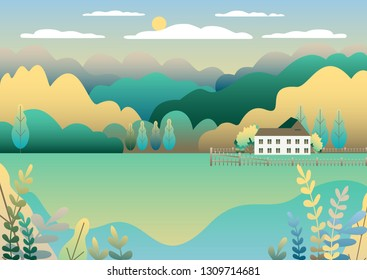 Rural valley Farm countryside. Village landscape with ranch in flat style design. Landscape with house farm one family, barn, building, hills, tree, mountains background cartoon vector illustration