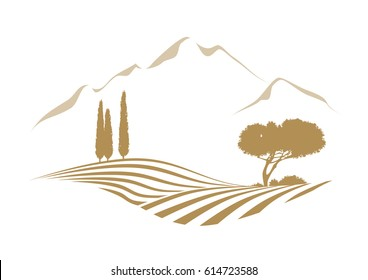 rural vector landscape with plowed field, mountains, cypress and pine tree