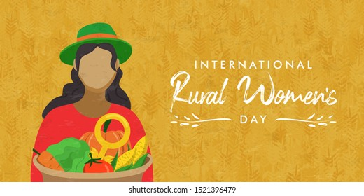 Rural Women's Day banner card of farm woman worker in green agriculture field holding organic vegetable basket. Female farmer event flat cartoon illustration.