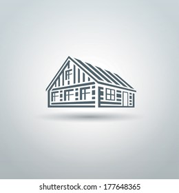 Rural wooden slavic house logo on white background