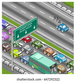 Rush hour traffic jam to downtown and free lane on highway (isometric view)
