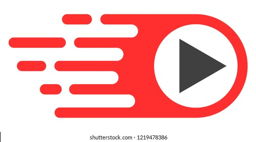 Rush right icon with fast rush effect in red and black colors. Vector illustration designed for modern abstraction with symbols of speed, rush, progress, energy.