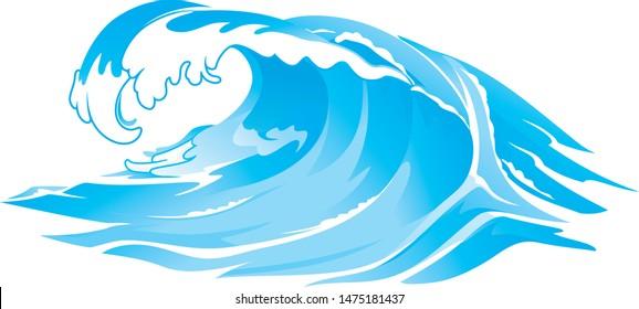 Rushing Huge Wave, Isolated Illustration