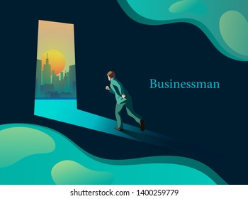 Rushing out of the darkroom. business concept vectors.