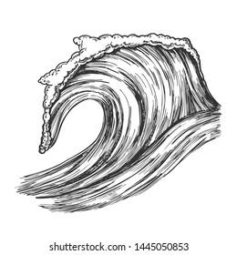 Rushing Tropical Ocean Marine Wave Storm Vector. Foamy Water Marine Surge Dangerous Seascape Element Clean Breach. Motion Nature Aquatic Tsunami Black And White Hand Drawn Cartoon Illustration