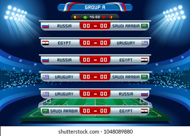 Russia 2018 Football world cup group A. Set of four different flag illustration. Vector flag collection. 2018 soccer world tournament in Russia. World football cup. Nations flags info graphic.