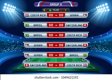 Russia 2018 Football world cup group E. Set of four different flag illustration. Vector flag collection. 2018 soccer world tournament in Russia. World football cup. Nations flags info graphic.