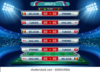 Russia 2018 Football world cup group G. Set of four different flag illustration. Vector flag collection. 2018 soccer world tournament in Russia. World football cup. Nations flags info graphic.