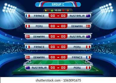 Russia 2018 Football world cup group C. Set of four different flag illustration. Vector flag collection. 2018 soccer world tournament in Russia. World football cup. Nations flags info graphic.