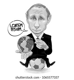 Russia - 2018, Opening of the World Cup of Football. Vector cartoon of Vladimir Putin with a globe in hand sitting on the soccer ball.