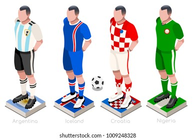 Russia 2018 Soccer world cup group D players with team shirts flags and ball. Isometric football vector illustration