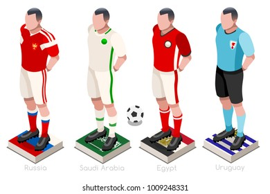 Russia 2018 Soccer world cup group A players with team shirts flags and ball. Isometric football vector illustration