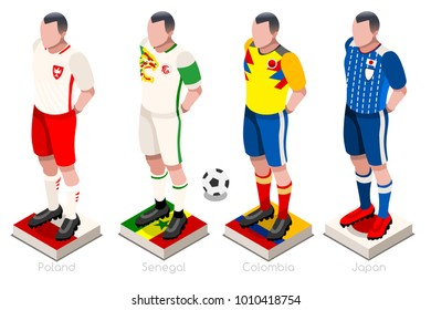 Russia 2018 Soccer world cup group H players with team shirts flags and ball. Isometric football vector illustration