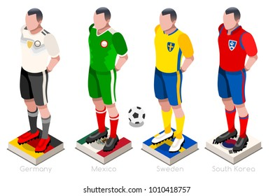 Russia 2018 Soccer world cup group F players with team shirts flags and ball. Isometric football vector illustration