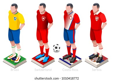 Russia 2018 Soccer world cup group E players with team shirts flags and ball. Isometric football vector illustration