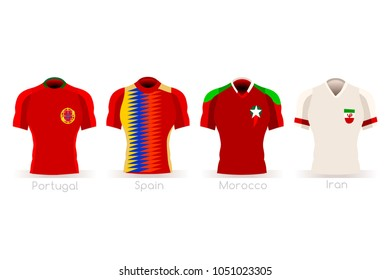 Russia 2018 soccer world cup group B of players with team shirts jersey flags. Referee Russia soccer 2018 championship football vector illustration.