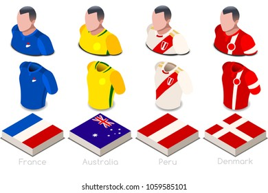 Russia 2018 soccer world cup group C players with team shirts jersey flags. Referee Russia soccer 2018 championship football vector illustration.