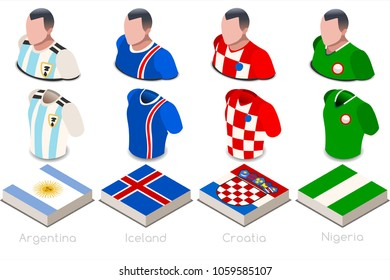 Russia 2018 soccer world cup group d of players with team shirts jersey flags. Referee Russia soccer 2018 championship football vector illustration.