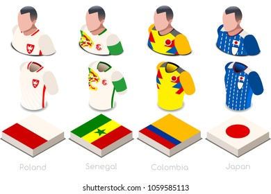 Russia 2018 soccer world cup. Group H of players with team shirts flags and ball. referee football vector illustration.