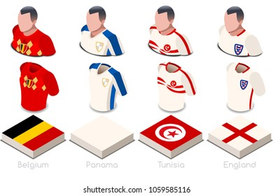 Russia 2018 soccer world cup group G players with team shirts jersey flags. Referee Russia soccer 2018 championship football vector illustration.