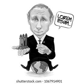 Russia - 2018, Vector cartoon of Vladimir Putin - seating on the globe with rockets in one hand and a threatening gesture with the other, demonstrating world domination and striving for an arms race.