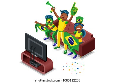 Russia 2018 world cup, Brazilians football fans. Cheerful soccer fans, supporters crowd and Brazil flag. Brazilians national day. Isometric people, vector illustration, sports images. White background