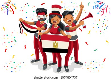 Russia 2018 world cup, Egypt football supporters. Cheerful soccer supporters crowd and Egyptian flag. Flat Isometric people celebrating Egypt national day. Vector illustration for hero images, banner.