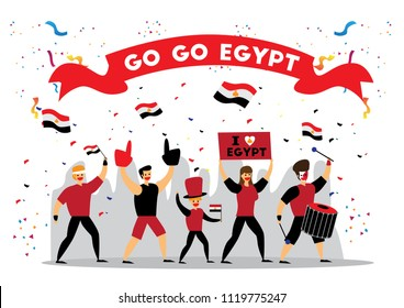 Russia 2018 world cup, Egypt football fans. Cheerful soccer fans, supporters crowd and Egypt flag. Egypt national day. Isometric people, vector illustration, sports images. Isolated background.