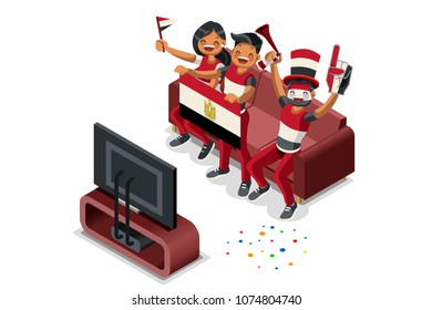 Russia 2018 world cup, Egyptian football supporters. Cheerful soccer supporters crowd and Egypt flag. Flat Isometric people celebrating Egyptian national day. Vector illustration hero images, banner.