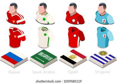 Russia 2018 world cup Football. Soccer world cup group A of players with team shirts flags and ball. referee football vector illustration.