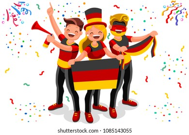 Russia 2018 world cup, Germany football fans. Cheerful soccer fans, supporters crowd and Germans flag. Germany national day. Isometric people, vector illustration, sports images. Isolated background.
