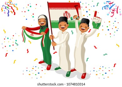 Russia 2018 world cup, Iran football supporters. Cheerful soccer supporters crowd with Iranian flag. Flat Isometric people celebrating Iran national day. Vector illustration for web banner hero images