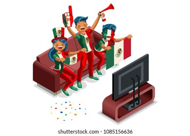 Russia 2018 world cup, Mexican football fans. Cheerful soccer fans, supporters crowd and Mexico flag. Mexican national day. Isometric people, vector illustration, sports images. Isolated background.
