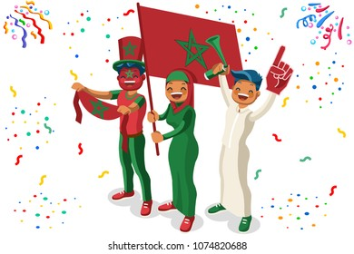Russia 2018 world cup, Moroccan football supporters. Cheerful soccer supporters crowd Morocco flag. Flat Isometric people celebrating Moroccan national day. Vector illustration hero images, web banner