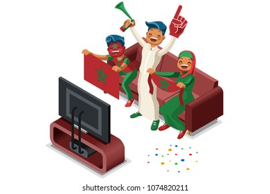 Russia 2018 world cup, Morocco football supporters. Cheerful soccer supporters crowd and Moroccan flag. Flat Isometric people celebrating Morocco national day. Vector illustration hero images, banner.